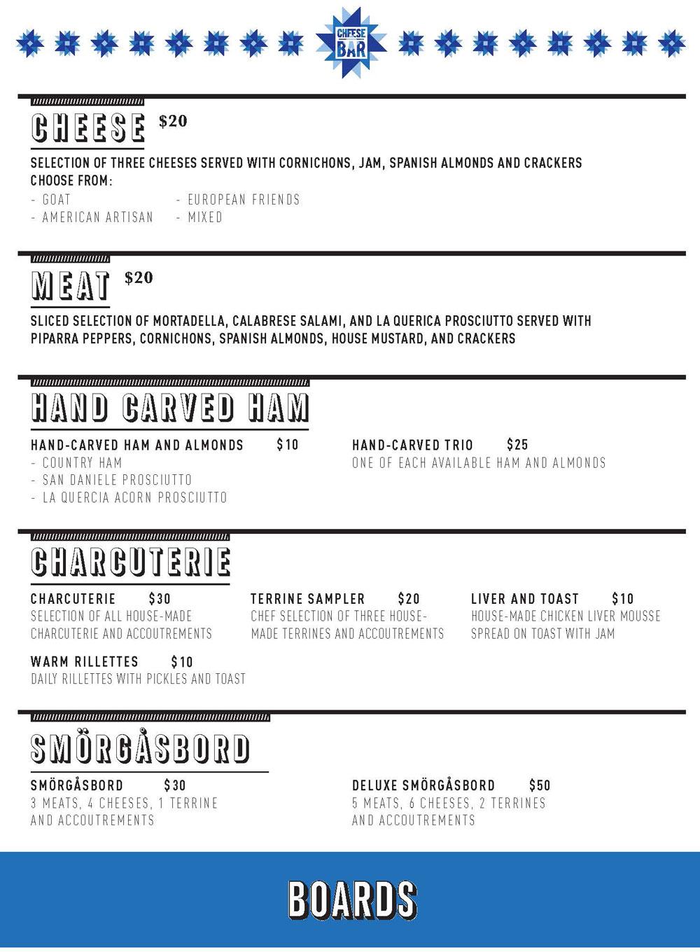 Cheese Bar Des Moines menu