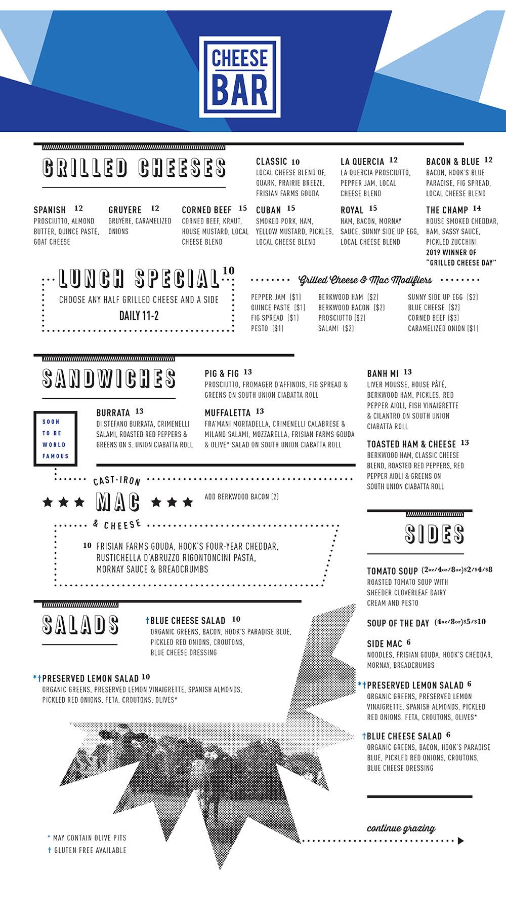 Cheese Bar menu